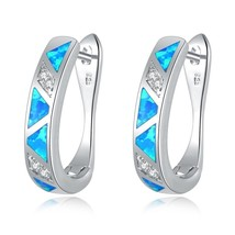 Blue Fire Opal Filled Hoop Earrings Silver Plated Long Oval Earring Vint... - $14.55