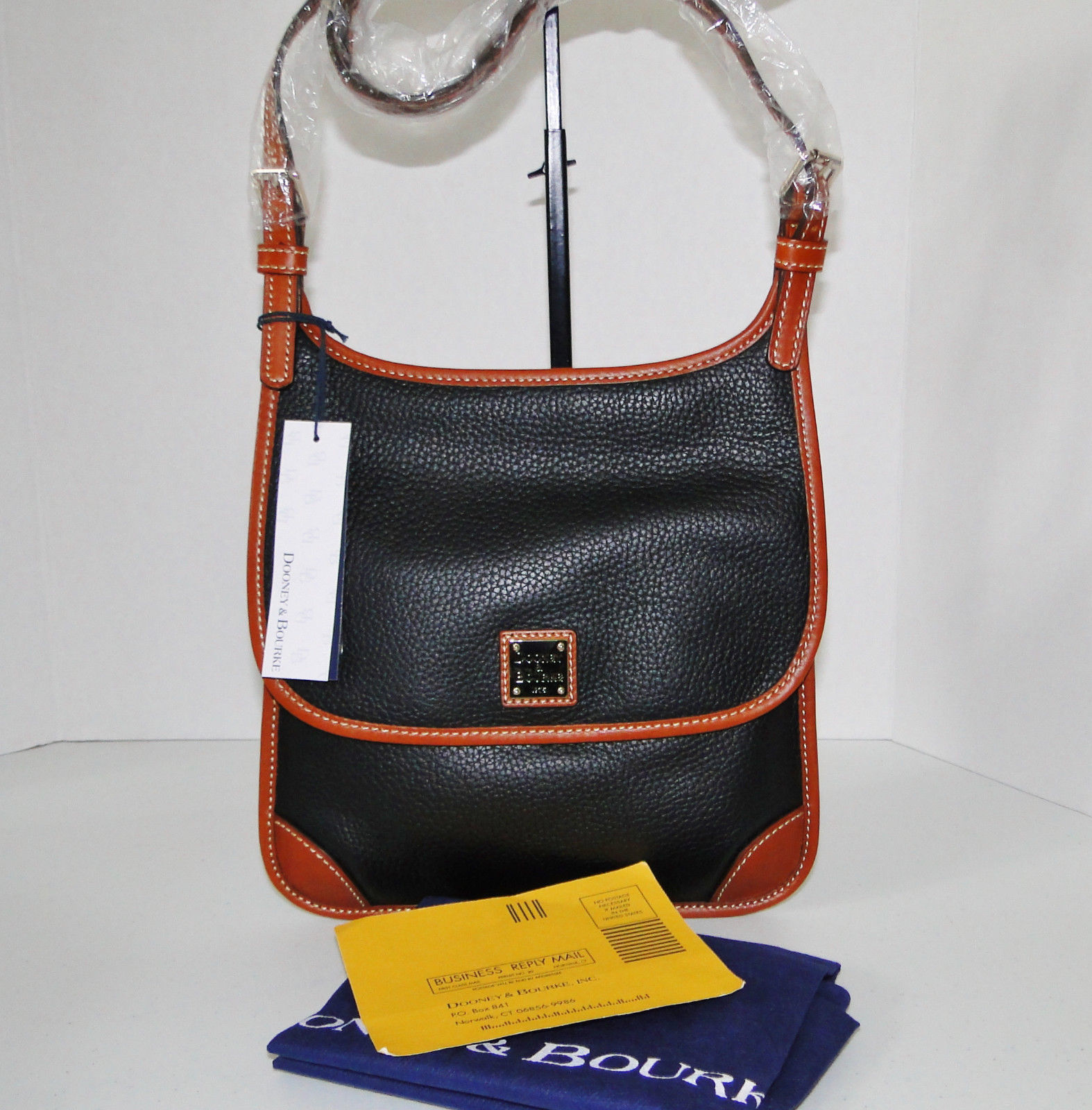 Dooney & Bourke Pebble Leather Black Saddle Crossbody
