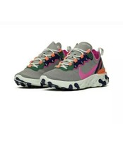 New Nike React Element 55 Size 7 Women Running Shoes Sneakers Gray BQ272... - $102.85