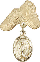 14K Gold Filled Baby Badge with Miraculous Charm and Baby Boots Pin 1 X 5/8 inch - $100.80