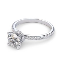 Halo Diamond Engagement Ring with 1.00 Carat Diamond Center / Solid Gol... - $1,907.10