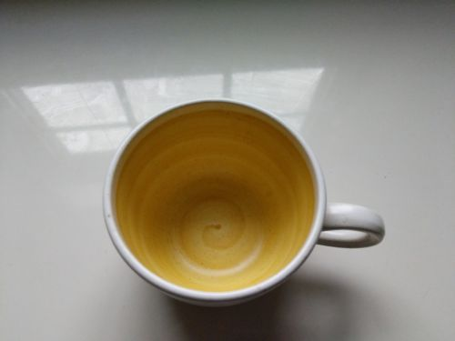 FRANCISCAN EARTHENWARE HACIENDA GOLD YELLOW CUP AND SAUCER (3 in total)