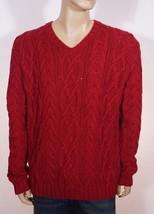 Polo Ralph Lauren Men's Red Cotton V Neck Hand Cableknit Pullover Sweater XL - $103.99
