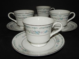 4 Rose China Cups and Saucers Rose Villa Pattern 3912 Japan Silver Rim P... - $34.64