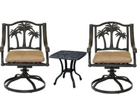 3 piece bistro patio set Palm Tree cast aluminum outdoor end table Bronze chairs image 1