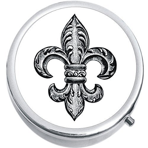 Primary image for Black And White Fleur De Lis Medicine Vitamin Compact Pill Box