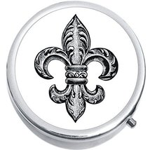 Black And White Fleur De Lis Medicine Vitamin Compact Pill Box - $9.78