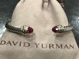David Yurman Sterling Silver 14k Gold Pink Turmaline 5mm Cable Classic Bracelet - $299.99