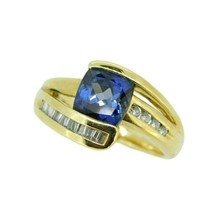1ct Cushion Cut Genuine Natural Tanzanite Ring with Diamonds (#J830) - $1,825.00