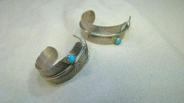 Sterling Pawn Silver Feather Hoop Earrings w Turquoise - $44.99