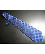 Conte di Milano Silk Dress Neck Tie Bright Shiny Blues and Black - $10.99