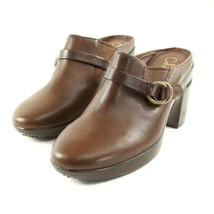 Cole Haan Brown Leather High Heel Clogs Mules Shoes Womens 6 B Buckle Ac... - $34.50