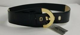 Chicos Black Gold Leather Modern Hook Stretch Belt Womens Sz L - $22.54