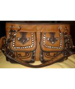 Montana West Shoulder Bag Satchel Brown Purse Studs Rhinestones & Chains - $39.00