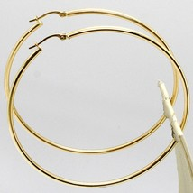 18K YELLOW GOLD ROUND CIRCLE EARRINGS DIAMETER 60 MM, WIDTH 2 MM, MADE IN ITALY image 2