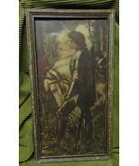 Antique Old George Frederick Watts Sir Galahad Knight Print original frame - $197.99