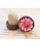 Pink Flower Wine Stopper, Floral Dark Wood Cork Bottle Stopper, Gift For... - $11.57 CAD