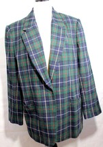 White Stag women's wool blazer plaid multicolor button front size 14 - $26.50