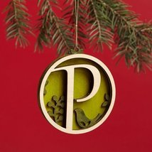 Enesco Flourish Letter P Monogramed Ornament, 3.2-Inch