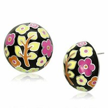 Women's Stainless Steel High polished Epoxy Orange Yellow Green Pink Stud Earrin - $14.40