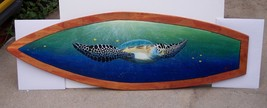 Sea Turtle tortoise woodem surfboard wall art beach nautical decor carve... - $129.00