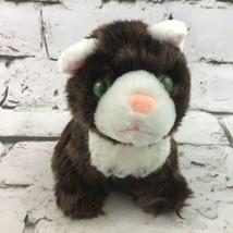 "6"" Kitty Cat Plush Brown White Green Eyes Stuffed Animal Doll Pet Soft Toy VTG - $11.88"