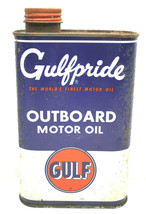 Vintage Gulf Oil Can Gulfpride Tin Metal 1 Quart Outboard Motor Oil Pump... - $33.65