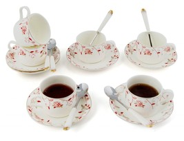 Kendal Porcelain Tea Cup,Saucer Coffee Cup Set with Saucer and Spoon Set... - $39.99