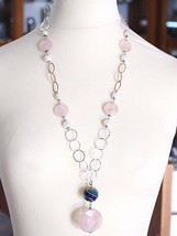 925 Silver Necklace, Rose Quartz Disk, Chain Rolo worked, Pearls, 70 cm image 2