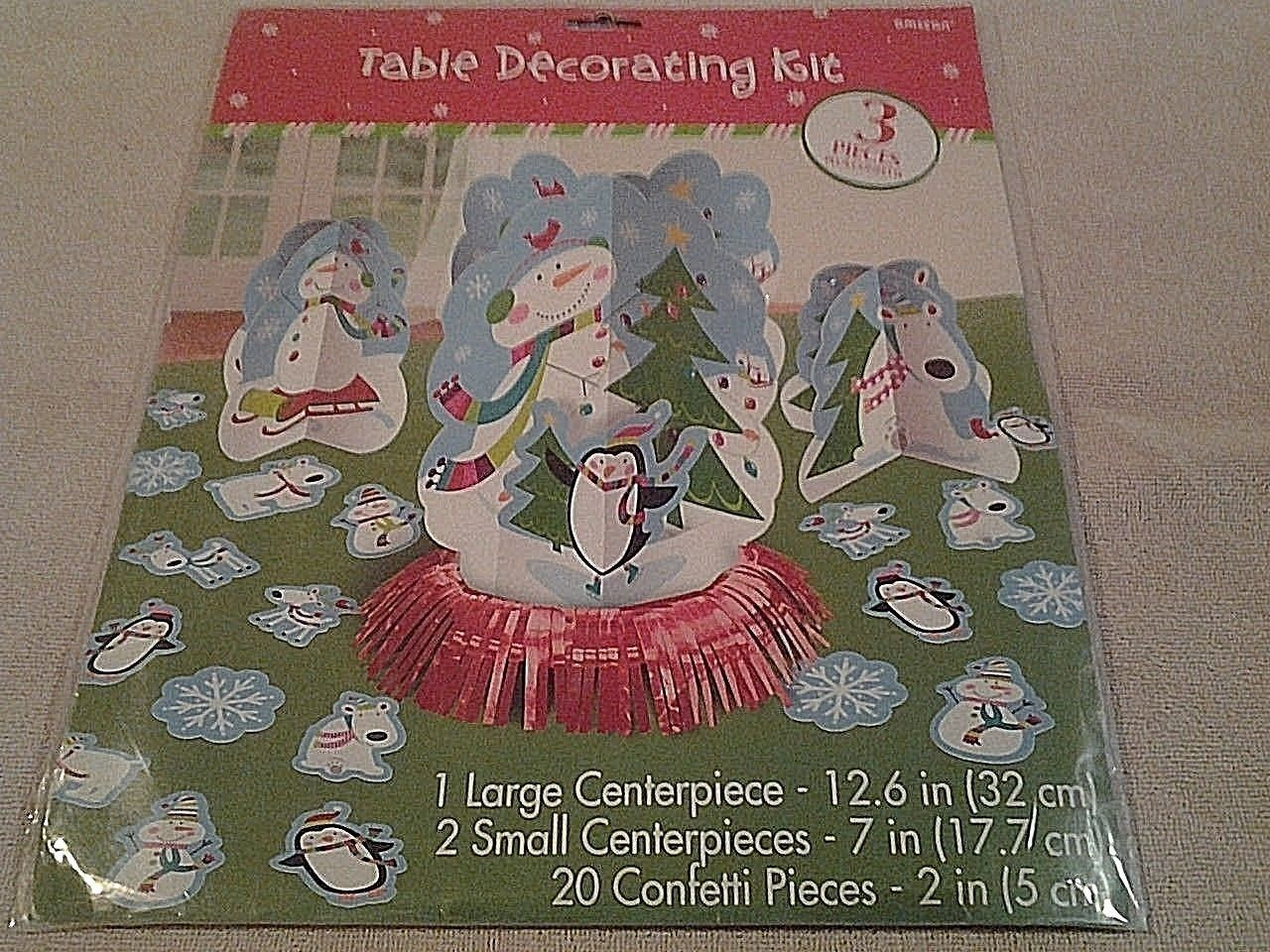 "Amscan Christmas ""SNOWMAN"" Party Table Decorating Kit 23 pieces - NIP"