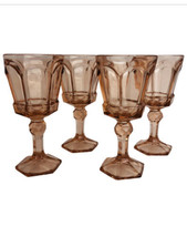 Fostoria Glass VIRGINIA 2977 Set of 4 Pink Stemmed Wine Water Goblets - 4 Ounce - $22.28