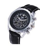 Luxury Men's Quartz Watch in Stainless Steel and Leather Strap in Black ... - $53.20