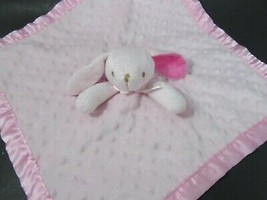 Pink bunny rabbit lovey baby Security Blanket minky dots Satin back brow... - $9.89