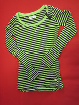 Abercrombie Kids Tee Top Sz L 14 Black Green Stripe Long Sleeve Cotton B... - $19.79