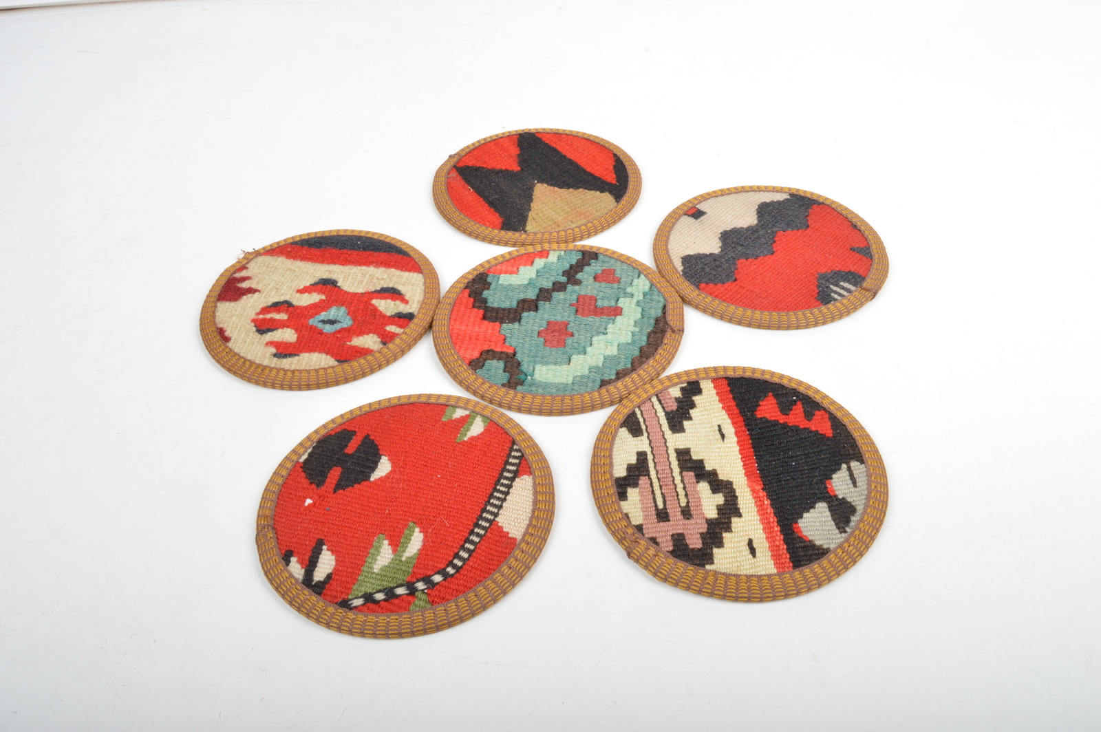 kilim coasters,Coaster 4,5'',handmade coaster,wool coasters,homedecor coaster  - $29.00