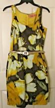 Eliza J Womens 8 Elegant Yellow Black Gray Sleeveless Sheath Belted Lined Dress - $19.79