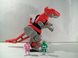 LOT OF 3 IMAGINEXT POWER RANGERS ACTION FIGURES WITH T-REX ZORD DINOZORD... - $51.89