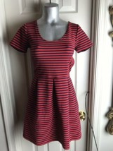 J. Crew Womens -Size 4 -Red/Navy Stripe Scoop Neck S/S Ponte Dress -A0120 image 2