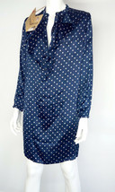 Luxury woman dress size S blue polka dot white fit wide Knee LengthTunic... - $44.79