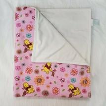 Disney Baby Blanket Pink Winnie Pooh Piglet Flowers White Back Velour Gi... - $39.99