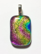 Sparkling Rainbow DICHROIC GLASS Pendant, SHIMMERING Pink, Green, Orange... - $12.00