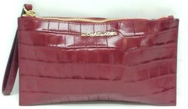 NWT Michael Kors Cherry Red Croc Embossed Bedford Leather Clutch- Gold Hardware - $69.99