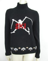 TOMMY HILFIGER Black Knit Ski sweater L Women Mock Neck vtg Winter Skier - $39.38 CAD