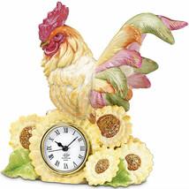 Lenox Rooster Quartz Clock Bird Figurine Country Gentlemen Regal Sunflowers NEW - $97.02