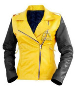 New Woman Fashion Yellow Black Quilted Flash Sheep Skin Soft Leather Jacket - $59.99+