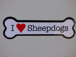 "I Heart (Love) Sheepdogs Dog Bone Car Fridge Magnet 2""x7"" Waterproof Mad... - $4.99"