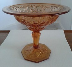 Large Amber Glass Footed Bowl - $11.40