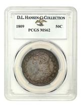 1809 50c PCGS MS62 ex: D.L. Hansen - Bust Half Dollar - Richly Toned - $6,469.90