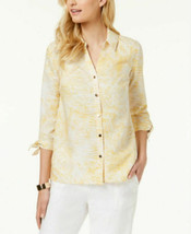 JM Collection women's  Tie-Sleeve Blouse,yellow/white msrp$ 54.50 - $12.00