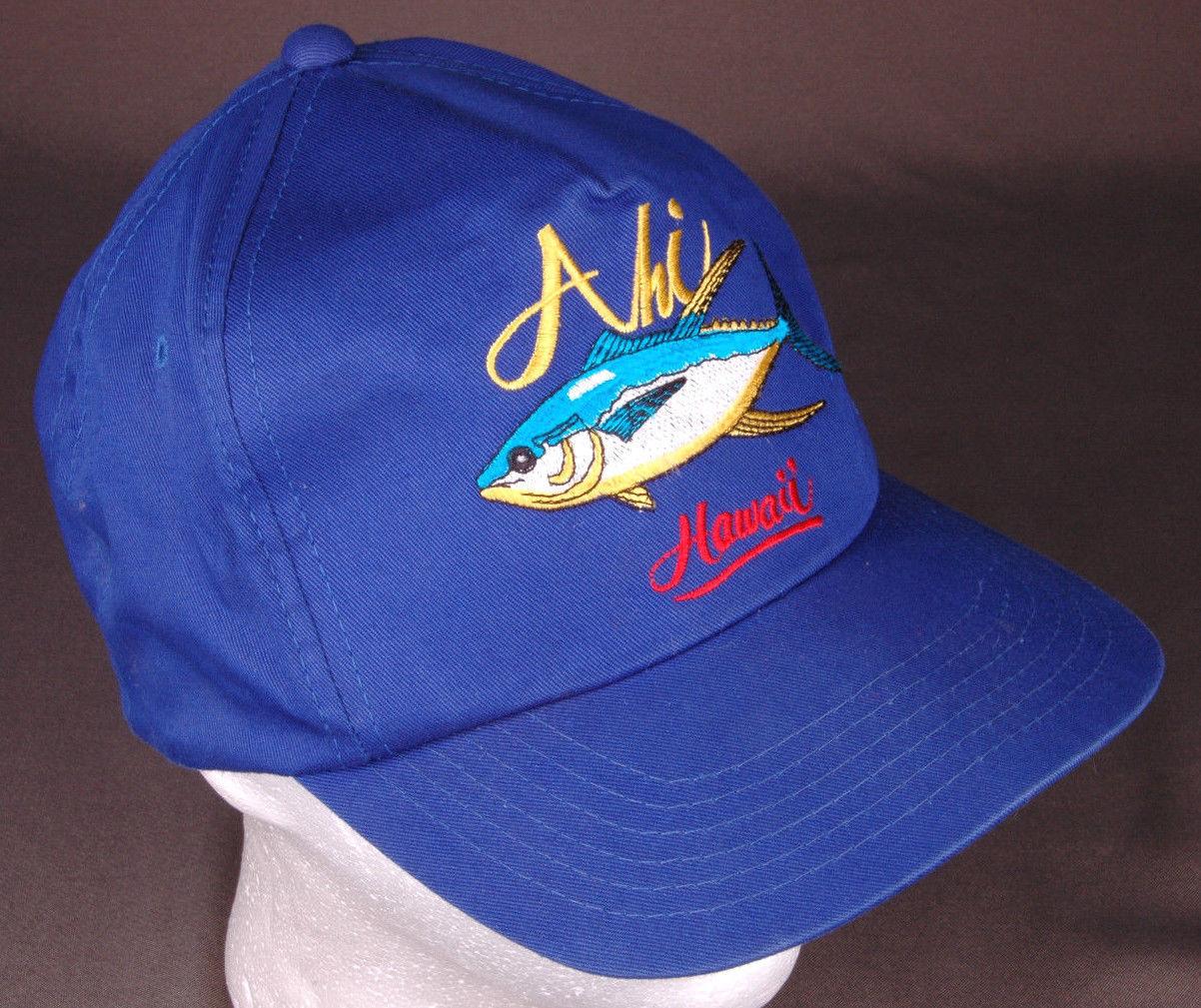 Vtg AHI Hawaii Hat-Blue-Snapback-Fish-Island-Vacation-Dorfman Pacific-Trucker image 2